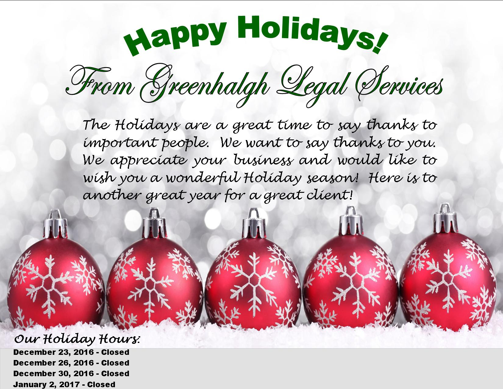 Happy Holidays from Greenhalgh Legal Services!Estate planning ...